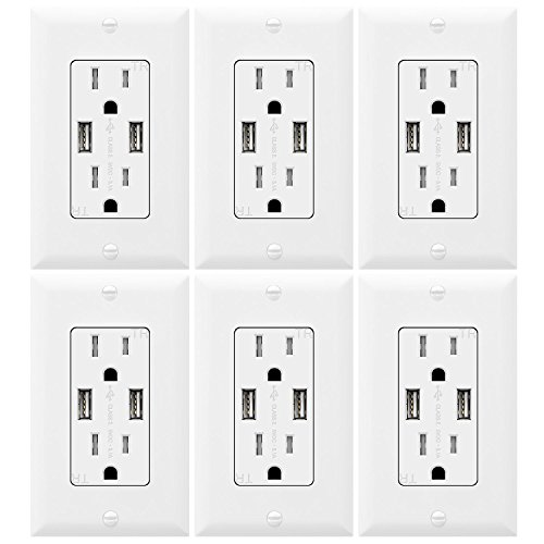 TOPGREENER TU2153A Outlet with USB, 3.1A USB Outlet, USB Wall Outlet, USB Charger Outlet, Dual USB Charger with 15A Tamper Resistant Duplex Receptacle, 6-Pack, - Adapter Duplex White