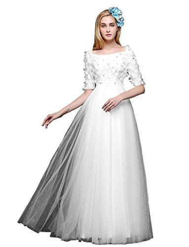 Abend halbe Lang Linie Weiß Emily Spitzen Kragen Kleider Hülsen Quadrat A Beauty Bowknot wqBfCvxqT