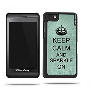 Keep Calm And Sparkle Purple - Protective Designer BLACK Case - Fits Apple iPhone 4 / 4S / 4G