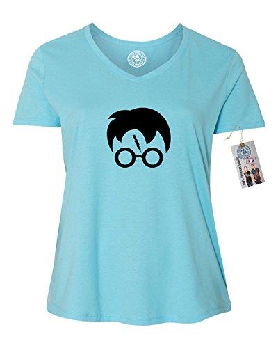 (Harry Potter Movie Popular Symbols Head Plus Size Womens Vneck Shirt Blue)
