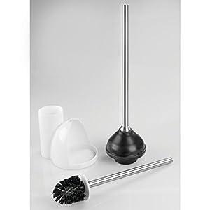 mdesign toilet bowl brush and plunger set for bathroom storage white brushed. Black Bedroom Furniture Sets. Home Design Ideas