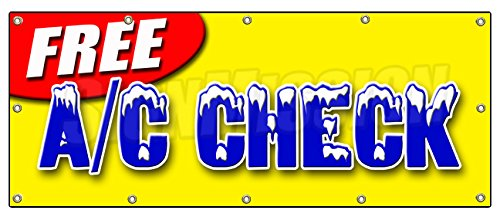 """48""""x120"""" FREE A/C CHECK BANNER SIGN air conditioning diagnosis repair freon cold"""
