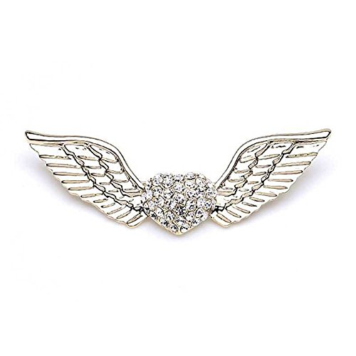 Korean corsage brooch sparkling diamond love heart flying angel wings lovers fashion brooch (Flying Angel Pin)