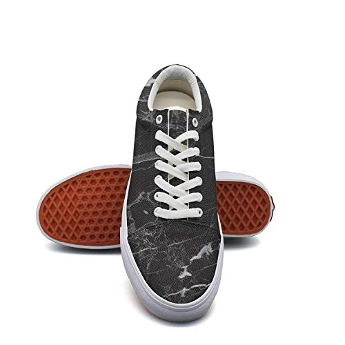 Ouxioaz Womens Action Shoes Black Marble Abstract Canvas Tennis Shoes (Black Action Marble)