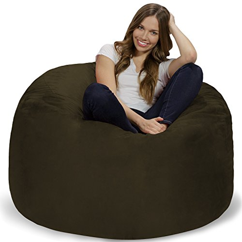 Chill Sack Bean Bag Chair: Giant 4' Memory Foam Furniture Bean Bag - Big Sofa with Soft Micro Fiber Cover - Olive Olive Fabric Sofa