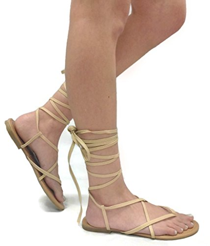 Dream Summer-17 Lace-Up Womens Sandals Wrap Around Criss Cross Casual Roman Gladiator, Natural, 7.5