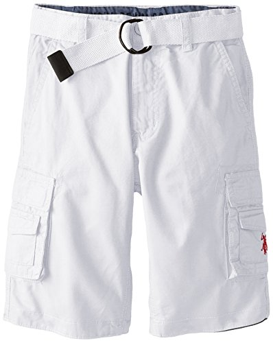 U.S. Polo Assn. Big Boys' Twill Belted Cargo Shorts, White, 10