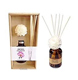 Premium All Natural Room Fragrance Oil Aroma Reed Decorative Flower Diffuser and Bottle, Rattan Reed Sticks, Alcohol Free Gift Box Set (Orchid Scent)