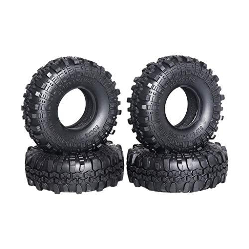 XGao 110MM 1.9 Inch Rubber Tyre Wheel Tire for 1/10 RC Rock Crawler SCX10 D90 TRX-4 Wheel Set for SCX10 RC4WD D90 1/10 Crawler Car Model Monster Truck Rocks Tyres Rock D110 TF2 Traxxas TRX-4 (Black)