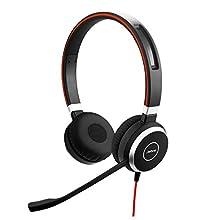 Jabra Evolve 40 UC - Auriculares Estéreo Certificados por Microsoft para VoIP Softphone, Cancelación Pasiva de Ruido, Jack de 3.5 mm, Negro