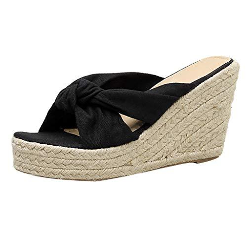 Tongs D'été Toe Couture Peep Compensées Noeud Mode Chaussures Sandales Noir Femmes Gladdon qZxvR8X