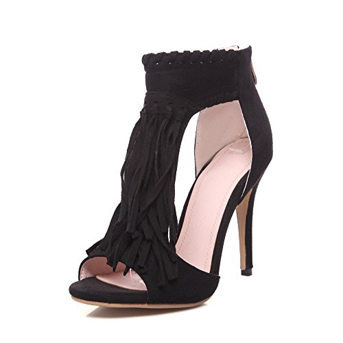 Nine Seven Cuero Moda Puntera Abierta Sandalias de Tacón de Aguja con Flores y Cremallera de Vestir para Mujer negro