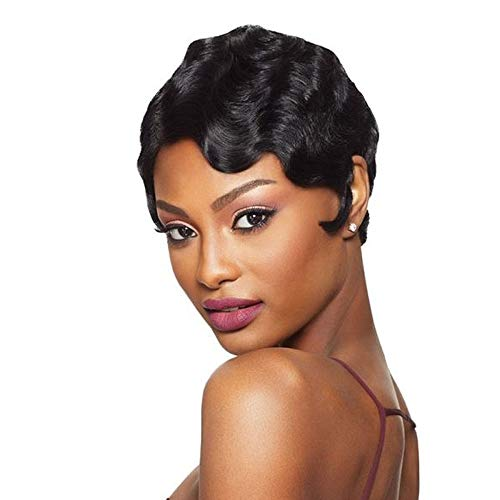 Human Hair Finger Wave Wigs for Women Mommy Wigs Glueless Short Curly Human Hair Wigs Natural black