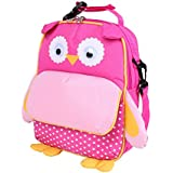Yodo 3-Way Convertible Playful Insulated Kids Lunch Boxes Carry Bag / Preschool Toddler Backpack for Boys Girls, with Quick Access front Pouch for Snacks, Pink Owl
