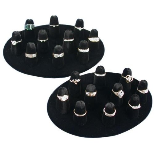 10 Ring Finger Display Black Velvet (Display Black Velvet 5 Ring)