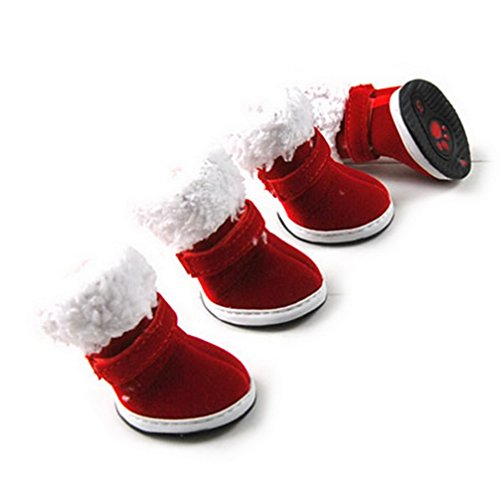 Ranphy Small Dog Shoes for Female Male Solid Color Christmas Warm Plush Brim Snow Boots Pet Shoes Winter Red S
