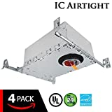 """ESD Tech 4 Pack 2"""" Inch LED New Construction Recessed Housing Can with Driver for Ceiling Downlights. Airtight, IC Rated, Dimmable, UL Listed, Energy Star, Title 24 Certified TP24 Connection"""