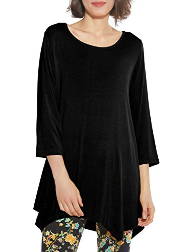 BELAROI Women 3/4 Sleeve Swing Tunic Tops Plus Size T Shirt (3X, Black) by BELAROI