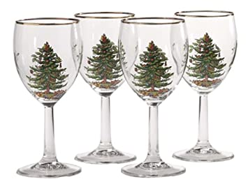 Amazoncom Spode Christmas Tree Wine Goblets with Gold Rims Set