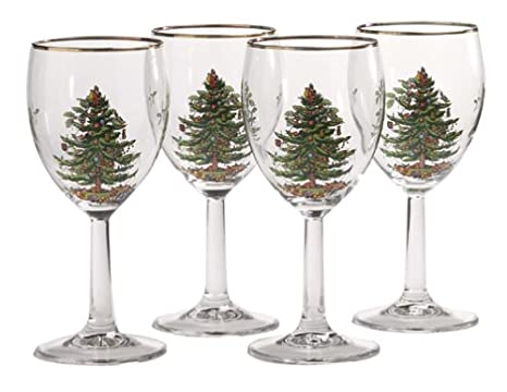 Spode Christmas Tree Wine Goblets With Gold Rims Set Of 4