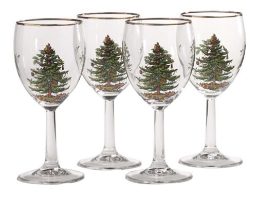 Christmas Tablescape Décor - Spode gold rimmed Christmas tree wine goblets - Set of 4