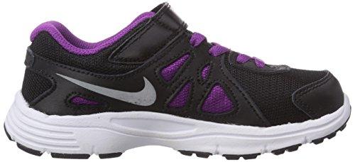 Nike Revolution 2 Psv, Zapatillas de Deporte Para Niñas Negro / Plateado / Gris / Blanco (Black / Mtllc Slvr-Wlf Gry-White)