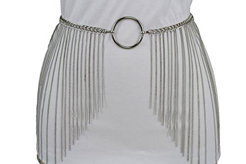 Extra Long Fringe (TFJ Women Fancy Fashion Extra Long Fringes Belt Hip High Waist Silver Metal Chains Ring (Silver Medium-XL 30