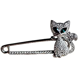 Ababalaya Women's Candy Cane Safety Crystal Cat Jewelry Pin Scarf Pin Lapel Brooch Sweater Pin (Silver Cat)