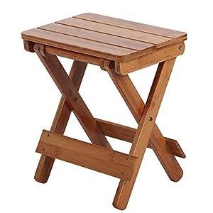 TOPINCN Chaise Pliante Tabouret Carré en Bambou pour Siège Portable Portable