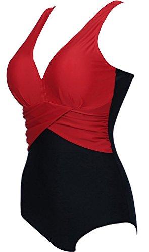 yuanyan Plus tamaño luz Tummy Control una pieza de baño para mujer Deep V sin espalda Bañador para niña bikini M-4x l Rosso