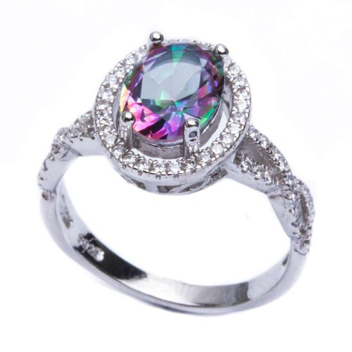 .925 Sterling Silver 3.50ct Oval Style Rainbow Colored CZ & Cz Ring Size 9