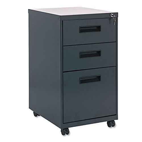 Alera PA532820CH – Three-Drawer Mobile Pedestal File, 15-7/8w x 19-3/4d x 28-1/4h, Charcoal