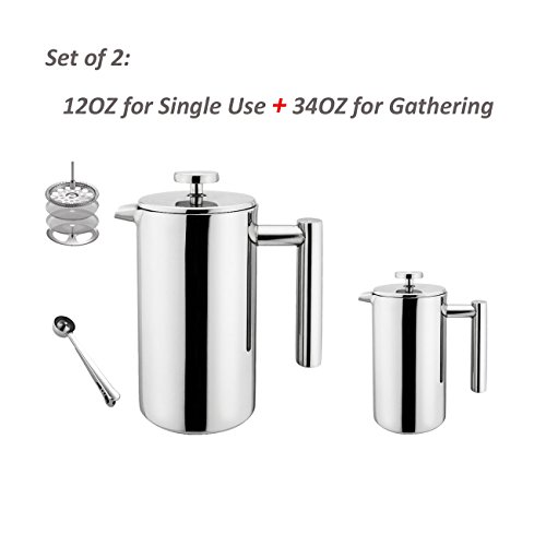 Highwin Small Stainless Steel French Press - 3 Cups Coffee Plunger Press Pot Best Tea Brewer & Maker - Double Walled. Unique Dual-Filter. Individual Serving (#4 Set of 2 (12OZ + 34OZ))