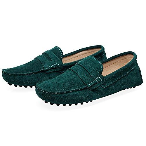 Shenn Menns Komfortabel Slip På Mokasiner Penny Loafers Sko Grønne
