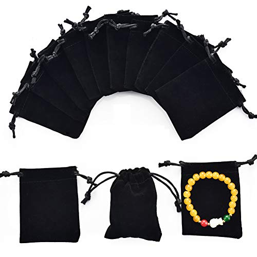 "handrong 50pcs Velvet Bags Drawstring Jewelry Gift Pouches for Women Wedding Bridal Shower Party Favors 3.6""x2.8"" (Black) from handrong"