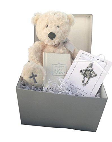 ear, and White Metal Cross for Boy's Girls Christening Gift Set ()