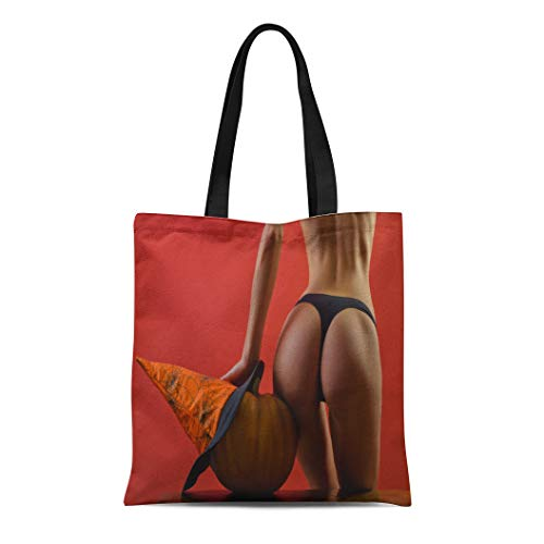 Semtomn Cotton Canvas Tote Bag Sexy Witch Vampire Great Ass and Pumpkin Butt Halloween Reusable Shoulder Grocery Shopping Bags Handbag Printed ()