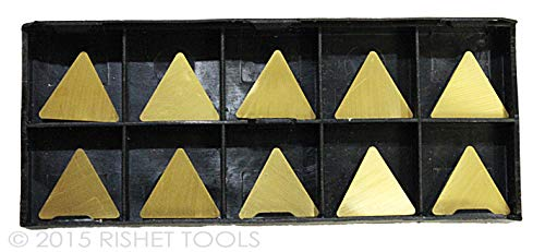 (RISHET TOOLS 11296 TPG 322 C5 Multi Layer TiN Coated Solid Carbide Inserts (Pack of 10))
