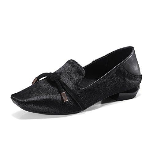 Ladies Square Toe Genuine Leather Women Espadrilles Apricot Black Low Heels Single Shoes Black