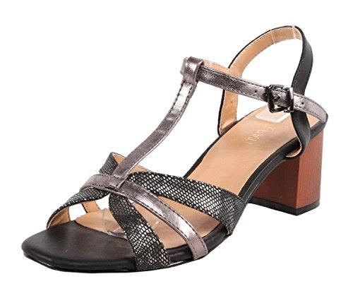 SHU CRAZY Womens Ladies Metallic Ankle Buckle Strap Peeptoe Low Block Heel Party Sandals Shoes - P44 Black