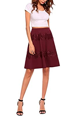 Women's High Waist Flare A-line Midi Long Skirt S-XXL