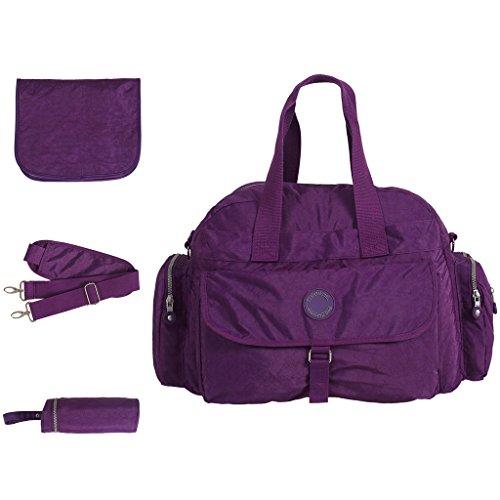 LCY Large Capacity 3 Piece Tote Diaper Bag Set Purple