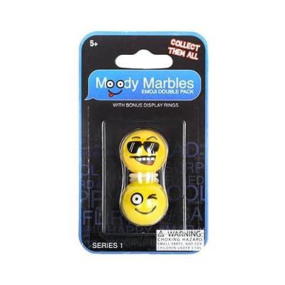 Mega Marbles Moody Marbles Emoji Shooter Double Pack (1\'\') (Cool/Flirt): Toys & Games [5Bkhe1100133]