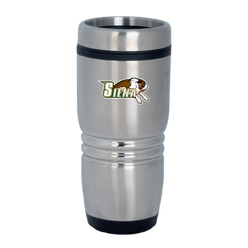 CollegeFanGear Siena Rolling Ridges Silver Stainless Tumbler 16oz 'Official Logo' by CollegeFanGear