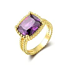 Onefeart Gold Plated Ring for Girls Women Wedding Band Purple Cubic Zirconia 1.5CMx1.3CM US Size 6-8
