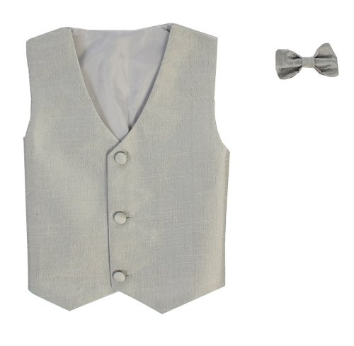 Vest and Clip On Baby Boy Bowtie set - SILVER - 2T/3T]()