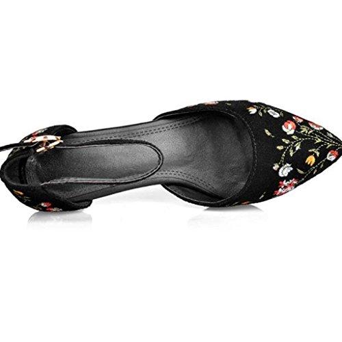 W&LM ms tacones altos sandalias punta Solos zapatos bueno zapatos casuales Los zapatos de la boca baja Red