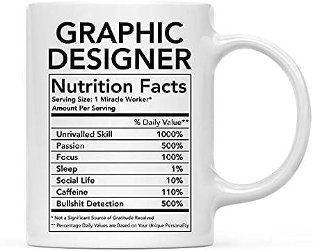 Divertida taza de cerámica para té y café, regalo de agradecimiento, información nutricional de diseñador gráfico, 1 paquete, novedad, regalo de cumpleaños, Navidad, ideas para compañeros de trabajo