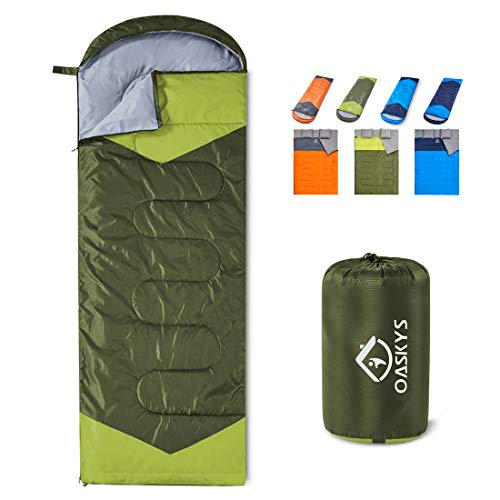 oaskys Camping Sleeping Bag - 3 Season Warm & Cool Weather - Summer, Spring, Fall, Lightweight, Waterproof for Adults & Kids - Camping Gear Equipment, Traveling, and Outdoors (Green, 7530inch)