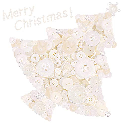 - Swpeet 1000Pcs Christmas White Craft Buttons, 2 and 4 Holes White Round Craft Resin Sewing Buttons Suitable for Christmas Sewing Decorations, Art & Crafts Projects DIY Decoration - White